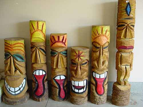 Custom Made Palm Trees Tiki Poles